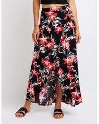 Charlotte Russe - Floral Wrap Maxi Skirt - Lyst