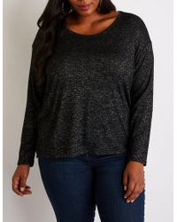 2a1dd0a713b30 Lyst - Charlotte Russe Plus Size Knot Detailed Bell Sleeve Top in Gray