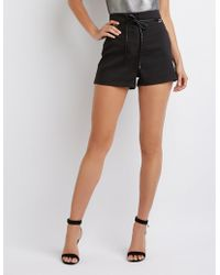 Charlotte Russe - High-waist Belted Shorts - Lyst