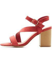 Charlotte Russe - Strappy Block Heel Sandals - Lyst