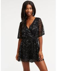 acc585e3967 Lyst - Charlotte Russe Plus Size Mesh Sleeve Cut-out Romper in Black