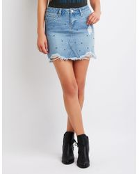 c07a88f3a09 Lyst - Charlotte Russe Plus Size Refuge Destroyed Denim Skirt in Blue