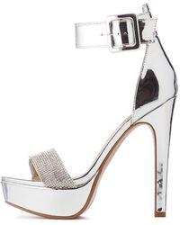 53932e5fe538 Charlotte Russe - Metallic Ankle Strap Platform Stilettos - Lyst