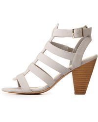 7792bdd6c30b Lyst - Charlotte Russe Strappy Caged Block Heel Sandals in Brown