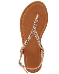 3df110e999e8 Charlotte Russe - Crystal Braided Flat Sandals - Lyst