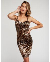 Charlotte Russe - Satin Leopard Bodycon Dress - Lyst