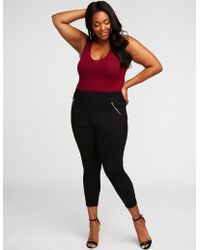 Charlotte Russe - Plus Size Faux Suede Zipper Leggings - Lyst