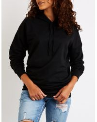 Charlotte Russe - Drawstring Tunic Pullover Hoodie - Lyst