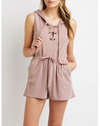 Charlotte Russe - Lace-up Hoodie Romper - Lyst