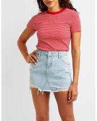 Charlotte Russe - Refuge Distressed Denim Mini Skirt - Lyst