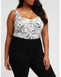 6c5bc8e002 Lyst - Charlotte Russe Plus Size Floral Lace Bodysuit in Black ...