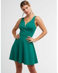 e3b0614cee18 Lyst - Charlotte Russe V Neck Skater Dress in Blue