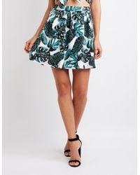 Charlotte Russe - Tropical Print Skater Skirt - Lyst