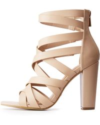 3e79fc89121 Lyst - Charlotte Russe Bamboo Bow Two-piece Platform Sandals in Brown
