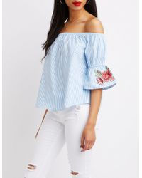 Charlotte Russe - Embroidered & Striped Off-the-shoulder Top - Lyst
