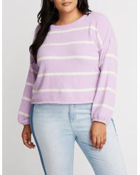 Charlotte Russe - Plus Size Striped Sweater - Lyst