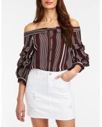 73f97ce52fe93c Lyst - Charlotte Russe Floral Off The Shoulder Top in Yellow