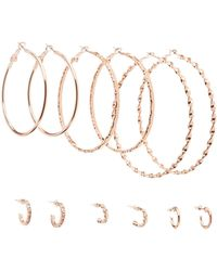 Charlotte Russe - Textured Hoop Earrings - 6 Pack - Lyst