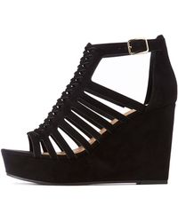 620e2424409 Lyst - Charlotte Russe Qupid Lace-up Wedge Sandals in Black