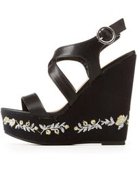 a0bc0cf7d43 Charlotte Russe - Embroidered Two-piece Wedge Sandals - Lyst