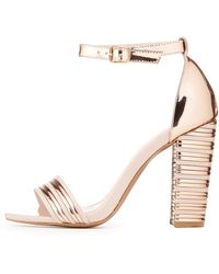 ffcba7b83fe4 Lyst - Charlotte Russe Ankle Strap Metallic Heel Sandals in Black ...