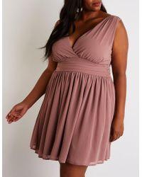 99ebc7d5821 Lyst - Charlotte Russe Plus Size Crochet Skater Dress in White