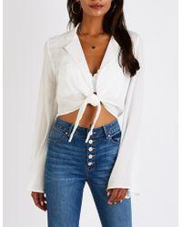 Charlotte Russe - Tie Front Crop Blazer - Lyst