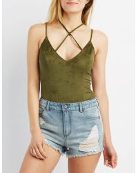 Charlotte Russe - Faux Suede Strappy Caged Bodysuit - Lyst