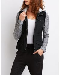 Charlotte Russe - Hooded Combo Anorak Jacket - Lyst