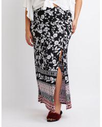 9260b280752 Charlotte Russe - Plus Size Border Print Maxi Wrap Skirt - Lyst