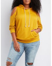 4f27be2e2c7 Charlotte Russe - Plus Size Cold Shoulder Drawstring Hoodie - Lyst