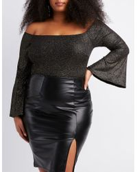 Charlotte Russe - Plus Size Lurex Off-the-shoulder Bodysuit - Lyst