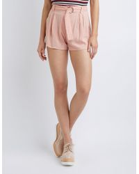 Charlotte Russe - Pleated Paperbag Shorts - Lyst