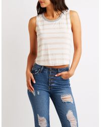 Charlotte Russe - Striped High Low Tank Top - Lyst