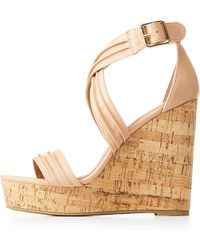 Charlotte Russe - Ruched Ankle Wrap Wedges - Lyst