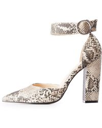 Charlotte Russe - Faux Snakeskin Pointed Toe Pumps - Lyst