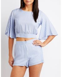 Charlotte Russe - Striped Flat Front Shorts - Lyst