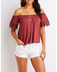 a79db464c611b0 Lyst - Charlotte Russe Smocked Lace-up Off-the-shoulder Top in White