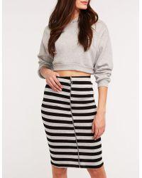 bf202151053 Lyst - Charlotte Russe Metallic Pleated Midi Skirt in Metallic