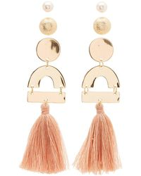 Charlotte Russe - Geometric Stud & Fringe Earrings - 3 Pack - Lyst