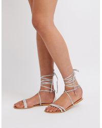 Charlotte Russe - Qupid Lace Up Flat Sandals - Lyst