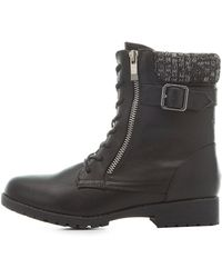 Charlotte Russe - Bamboo Knit-trim Combat Boots - Lyst