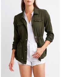 Charlotte Russe - Cinched Waist Anorak Jacket - Lyst