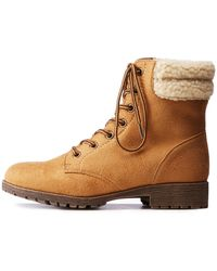 Charlotte Russe - Bamboo Sherpa Combat Boots - Lyst