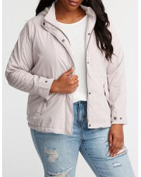 950d490c51c Lyst - Charlotte Russe Plus Size Hooded Anorak Jacket - Save ...