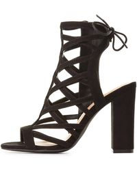 506c608ddfb6 Lyst - Charlotte Russe Strappy Caged Dress Sandals in Black
