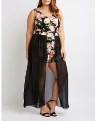 d07f1ce02db1 Lyst - Charlotte Russe Plus Size Floral Embroidered Maxi Romper in ...