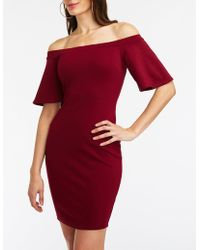 a98ce8aee7b Lyst - Charlotte Russe Off The Shoulder Asymmetrical Bodycon Dress ...