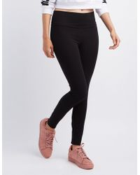 91febb9702e098 Charlotte Russe - High-waisted Stretch Cotton Leggings - Lyst