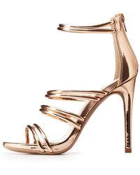 5e7c6f17997b Charlotte Russe - Metallic Caged Tubular Platform Sandals - Lyst